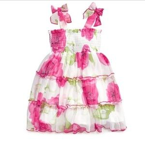 Baby Girls Pink Floral Chiffon Bow Tiered Sundress